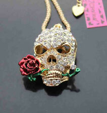 512R    Betsey Johnson Crystal Enamel The skull & rose Pendant Necklace