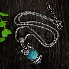Fashion Retro Blue Turquoise Crystal Charm Cute Owl Woman Necklace Jewelry Gift