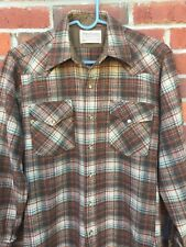Pendleton Western Shirt Snap front Mens Small Womens Sm-Med wool brown plaid