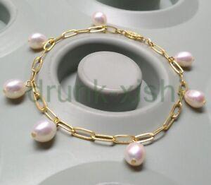 "7.5""-8"" Charming White South Sea Baroque Pearl Bracelet 14k Gold P Clasp"