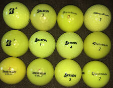12 used High Visibility Yellow Golf Balls-Bridgestone-Srixon- TaylorMade-T Armour
