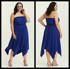 NWT Torrid Plus Size 1 1X XL Blue Cobalt Blue Smocked Jersey Tube Dress (40-1)