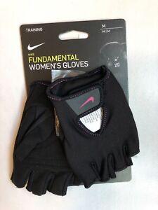 New Nike Women's Fundamental Fitness Training Gloves Black Pink Medium