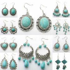 Vintage Jewelry Women Turquoise Charm Tibetan Boho Hoop Drop Dangle Earrings