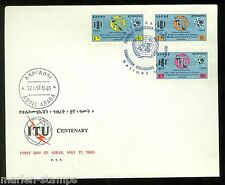ETHIOPIA  CENTENARY OF THE INT'L TELECOMMUNICATION UNION SET UN  FIRST DAY COVER