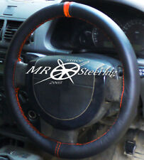 FOR FORD TRANSIT CONNECT 2002+ BLACK LEATHER STEERING WHEEL COVER + ORANGE STRAP