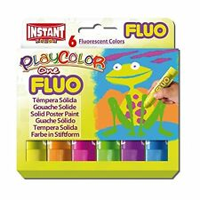 Playcolor™ 👩‍🎨 6 Fluorescent Solid Poster Paint Sticks 🎨 Kids Art NO MESS 👍