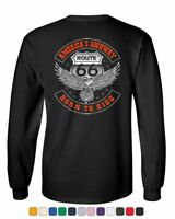 America's Highway Long Sleeve T-Shirt Born to Ride Route 66 Biker MC Chopper Tee