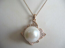 Large Mauve Pink Baroque Nucleated Freshwater Pearl Necklace