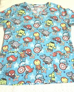 Marvel Avengers Scrub Top Blue Character Print Size Small Free Shipping VGC