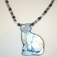 Very Nice Beaded Necklace With Gray Cat Mother Of Pearl Pendant