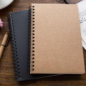 Hard Back Spiral Bound Coil Sketch Book Blank Paper Kraft Sketching Paper