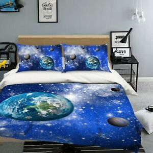 3D Starry Planet NAO9280 Bed Pillowcases Quilt Duvet Cover Set Queen King Fay