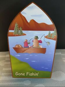"""Boat Shaped Gone Fishing Father's Day Trip 11"""" x 7"""" x 2 3/4"""""""