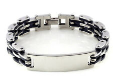 "Men's 8.3"" Cool Stainless Steel Silver Black Rubber Cuff Bracelet Link Bangle"