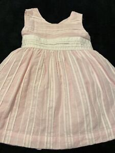 Tommy Hilfiger Baby/infant Pink With White Stripes Dress Lined Sz 3-6M EUC