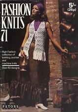 Vintage Fashion Knits Magazine 1971  Wedding Dress & Bonnet, Ponchos, Sweaters +