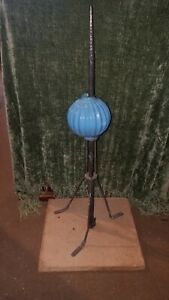 Vintage 1900's Lightning Rod W/ Stand & Blue Ribbed Milk Glass Ball, Brass Spear