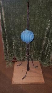 Vintage 1900's Lightning Rod W/ Stand & Blue Ribbed Milk Glass Ball, Brass Spear