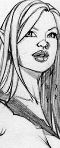 JESSIE WARRIOR ELF SK#1388 FANTASY ORIGINAL PINUP GIRL ART by ALEX MIRANDA