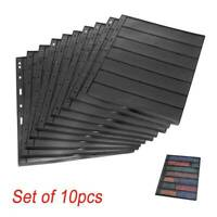 Set Stamp Stock Cards Page (7 Strips) 9 Binder Holes Double Sided Stamp 10PCS