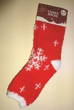 Christmas Red Snowflake Fluffy Soft & Warm Socks Bed Sock Xmas Fun Gift