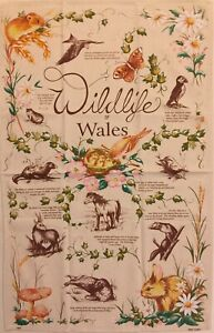 """Welsh Tea Towel, """"Wildlife Of Wales"""" 100% Cotton New, Good Quality"""