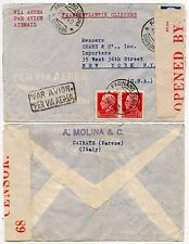 ITALIA BERMUDA CENSURA intercettato TRANSATLANTICO Clipper mail 1940 WW2 Red Tape 68