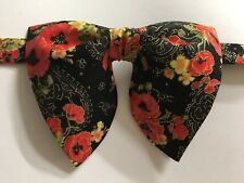 Oversized Black/Red Poppies Floral Bow tie Vintage style 70s Wedding Prom Gift