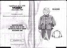 ▬► PATRON Couture Modes et Travaux Veste en Loden 8 10 12 ans Novembre 1988
