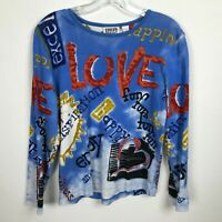 Chico's Design Blouse Size 1 Blue Red Love Happiness Fun Inspiration Amazing