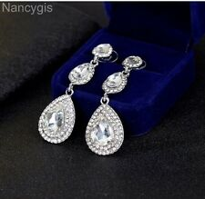 Silver Plated Crystal Triple Drop Party Bridal Wedding Long Earrings