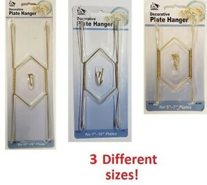 Decorative Plate Hangers in 3 Sizes Display Brass Plated Invisible Wire NEW
