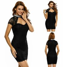 Sz 12 14 Black Lace Cap Sleeve Choker Bodycon Cocktail Party Slim Fit Mini Dress