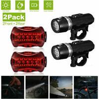 2 set Waterproof 5 LED Lamp Bike Bicycle Front Head Light+Rear Safety Flashlight