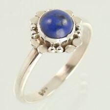 Designer Ring Size UK N Natural LAPIS LAZULI Round Gems 925 Sterling Silver NEW