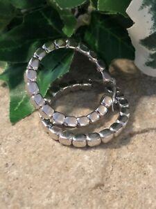 CHARLES GARNIER Sterling Silver Bar Link Hoop Earrings 8.4 Gr Beautiful!