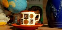 Mid Century modern coffee cup and saucer made in Hollsnd