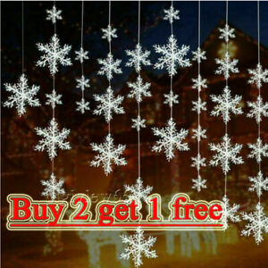 30pcs White Christmas Hanging Snowflakes Window Ornament Decor Xmas Party Gifts