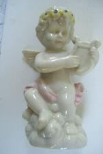 "Shiny Nude Baby Angel Playing Music  Figurine 5"" Tall Good Condition"