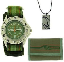 Kahuna Green Easy Fasten Watch, Wallet & Beads Necklace Boys Gift Set