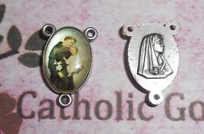 St. Saint Anthony with Bonella Art - Ox Silver Tone Rosary Centerpiece