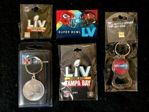 5pc. NFL SB 55 Tampa Bay vs Kansas City Magnet, 2 Pins & Keychain Package