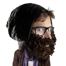 Beard Head Curly Atticus Black Slouch Style Beanie With Brown Removable Beard