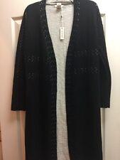 Max Studio Black & Bone Knit Long Cardigan Sweater Coat Size S