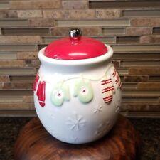 Collectible Hallmark Cookie Jar w/Mittens, Snowflakes & Jingle Bell Knob on Lid