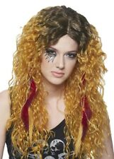 Rocker Heavy Metal Rock Star Glam w/ Feathers Costume Wig