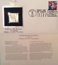 """Flappers Do The Charleston """"Celebrate the Century""""1920s 22k Gold Foil Repl FDC"""
