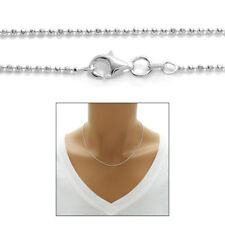 "925 Sterling Silver Beautiful Bead Link Necklace 2mm 16""-24"""