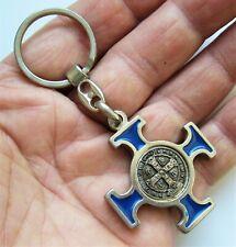 Ancien porte clé métal laque Croix St Benoît Protection Démon Talisman Religion